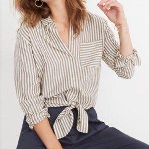 MADEWELL Tie-Front Shirt Maitland Stripe